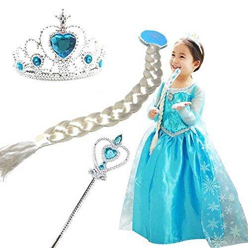 アナと雪の女王 子供用 コスプレ エルサ5点セット(手袋、ティアラ、三つと編み、ステッキ、ドレス) (青手袋5点セット(130)),子ども,キッズ,コスチューム