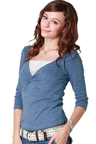 ほんのり起毛の7分袖 ツイストデザイン授乳トップス【アン】 授乳レイヤー2枚付き 授乳服/S/ブルー,授乳口付きトップス,選び方,おすすめ