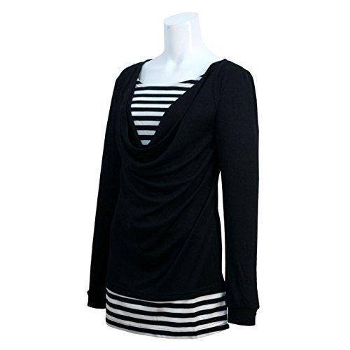 レディース 授乳服 長袖 Tシャツ 授乳口付き フェイクレイヤードボーダー 長袖 ブラック-M1625 M,授乳口付きトップス,選び方,おすすめ