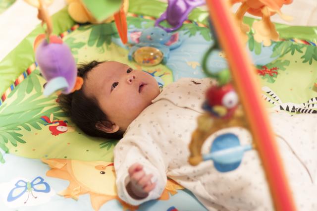 ジムで遊ぶ女の子の赤ちゃん,おもちゃ,女の子,0歳