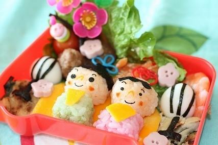 指人形風ひな祭り弁当,ひな祭り,キャラ弁,作り方