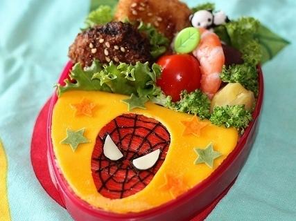 スパイダーマンのオムライス弁当,スパイダーマン,キャラ弁,かわいい