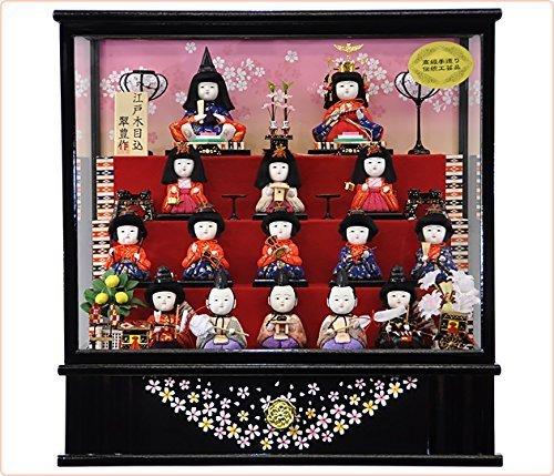 15人の人形が配される豪華なショーケース入り雛人形,おすすめ,初節句,ひな人形