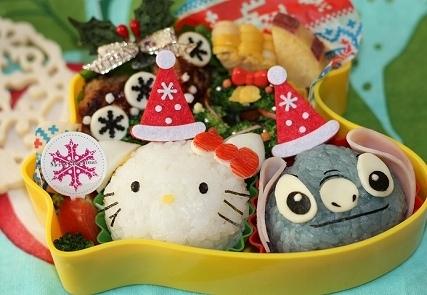 キティちゃんスティッチのサンタ弁当,クリスマス,キャラクター弁当,人気