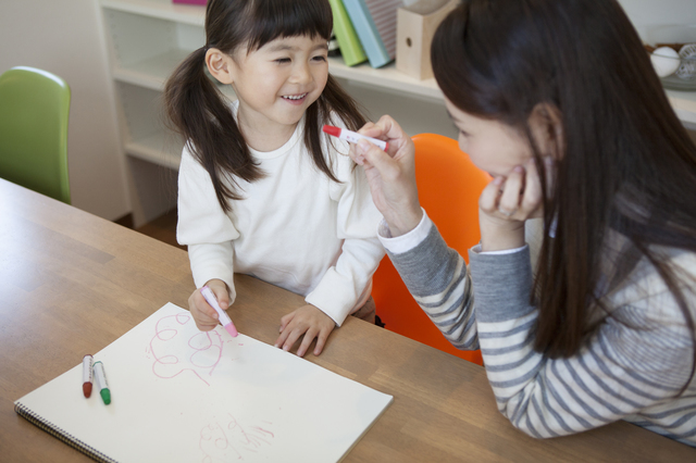 子どもと絵をかくママ,幼稚園,入園,スケジュール