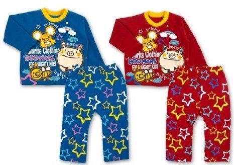 脇ボタン付 星柄 T型長そでパジャマ ,寝冷え,対策,子ども