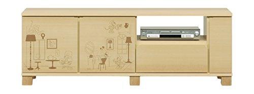 アルファタカバ お部屋行置きたいディズニー家具シリーズ スクエアミッキーマウス&ミニーマウス 120cm幅6枚扉 木製キャビネット/サイドボードナチュラル,絵本,収納,