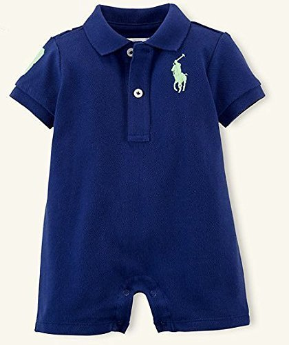 Ralph Lauren(ラルフ ローレン) ビッグ ポニー ショート ワンピース カバーオール(紺色)【月齢:9ヶ月】(並行輸入品) [並行輸入品],出産祝い,男の子,