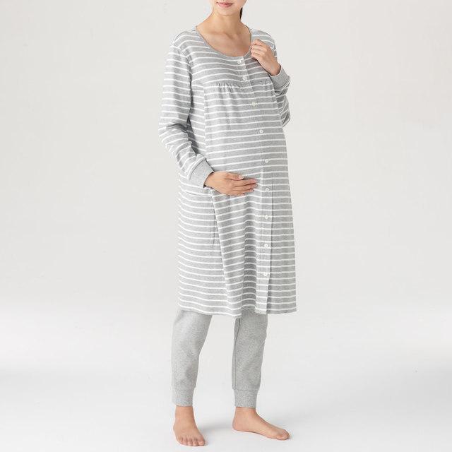 脇に縫い目のないソフトスムース授乳に便利な長袖パジャマ,マタニティ,ブランド,