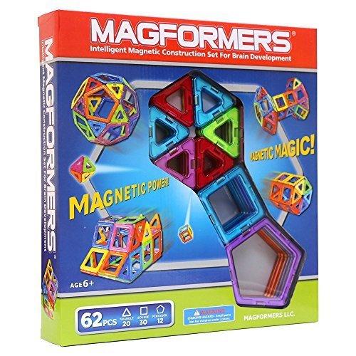 マグフォーマー 62ピース MAGFORMERS 新感覚のマグネットブロック 創造力を育てる知育玩具 [並行輸入品],知育玩具,2歳,