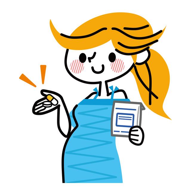 薬を持つ妊婦のイラスト,妊娠中,薬,