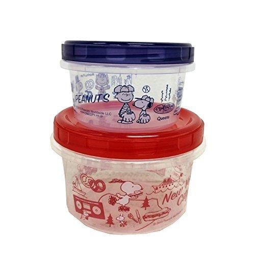 カミオジャパン スヌーピー 保存容器 丸型 ニューヨーク 2個セット レッド ブルー 81362,離乳食,持ち運び,
