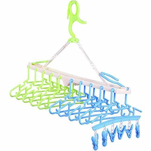 Sutekus赤ちゃん10連ハンガー キッズ ベビーハンガー ハンガーラック 洗濯ハンガー 折り畳み 取り外し10連ハンガー(グリーン&ブルークリップ付き),双子育児,