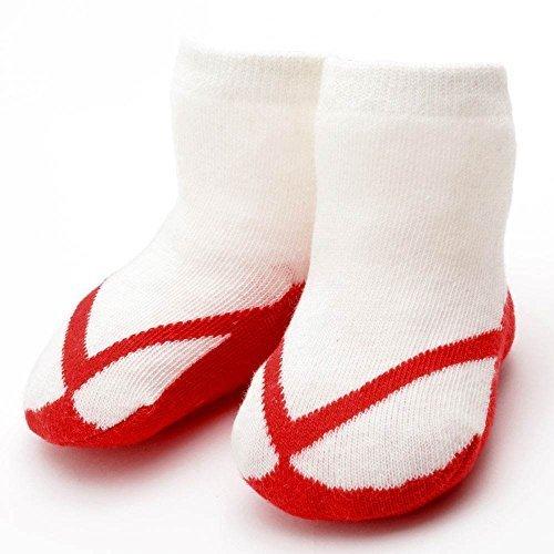 ネコポス便発送 790-5502 ベビーソックス 草履柄 和風靴下 ぞっくす 9~11cm/赤,赤ちゃん,靴下,サイズ