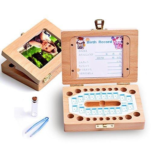 KAOKU 乳歯ケース 乳歯入れ 赤ちゃん用 乳歯ボックス 記念 トゥースボックス 木製 写真入れ可能 名前と抜けた日シール付き(日本語表記) 乾燥用綿付き うぶ毛を入れるミニボトル付き 男の子 女の子 (木製),乳歯,保存,ケース