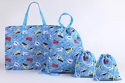 学童バッグ 3種 4点セット(レッスンバッグ×1 ナップサックコップ×1 巾着×2) えらべる2柄 (のりもの柄),レッスンバッグ,作り方,