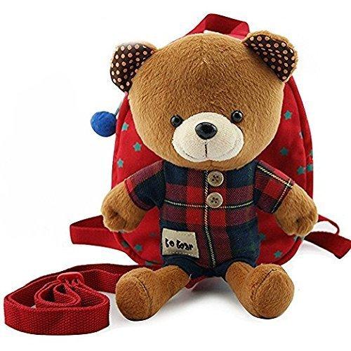 Bobear 迷子防止ひも リード付き ベビー リュック クマ ぬいぐるみ ( 1-6歳子供リュックサック ベビーギフトや贈り物) (レッド),ベビーリュック,