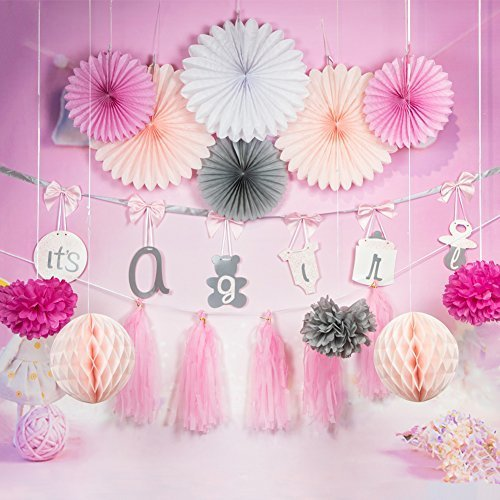 Easy Joy 誕生日/100日お祝い/ベビーシャワー 飾り付けセット 女の子 ピンク系【ペーパーファン ポンポンフラワー ハニカムボール】13点入,ベビーシャワー,