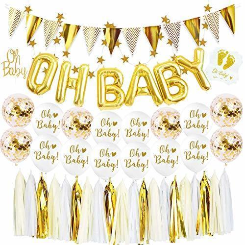 ゴールドパーティーセット飾り ベビーシャワー 誕生日セット 100日 男の子 女の子 紙吹雪いれ タッセルガーランド ペーパーナプキン ケーキトッパー バルーン,ベビーシャワー,