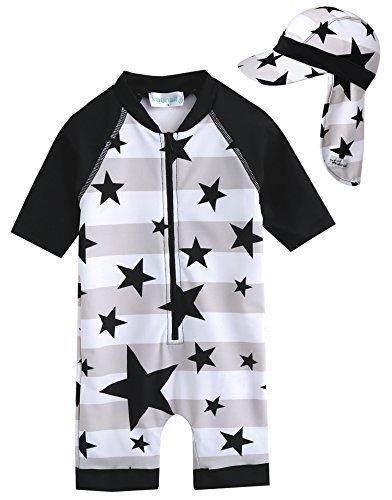 [Vaenait Baby] 0-24ヶ月UVカット ラッシュガードベビー子供男の子長袖ワンピース水着 Baby WithStar L+Flap cap S,赤ちゃん,水着,