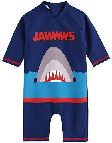 [Vaenait Baby] 0-24ヶ月UVカット ラッシュガードベビー子供男の子長袖ワンピース水着 Baby Jaws King S,赤ちゃん,水着,