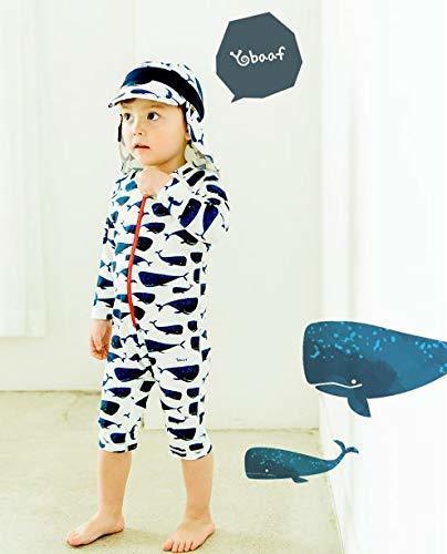 ベビー 水着 Yobaaf ロンパース水着 クジラ 長袖ラッシュガード UVカット (12-24m),赤ちゃん,水着,