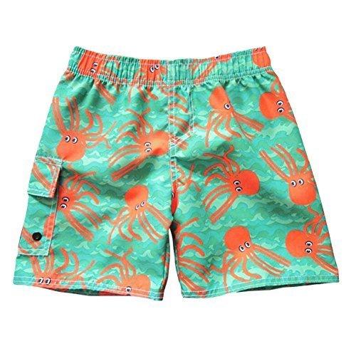 キッズ サーフパンツ 男の子 水着 ボーイズ パンツ ビーチ ショーツ ポケット 透気急速乾燥 夏 幼稚園 2-8 歳 (Small 4 歳, 緑),赤ちゃん,水着,