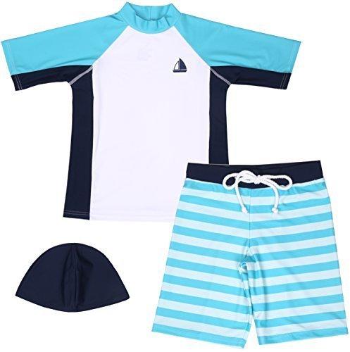 【Asbrio】水着 男の子 UPF50+ ボーダー柄パンツ グリーンラッシュガード 帽子 80〜130cm (110),赤ちゃん,水着,