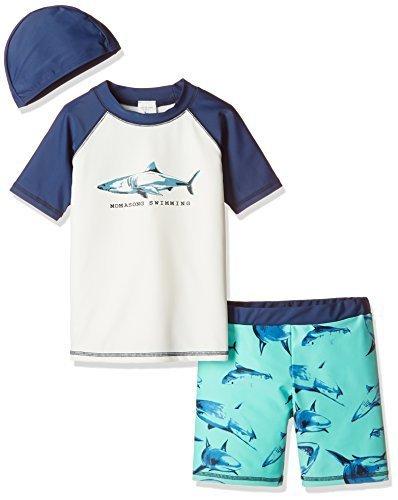 WOLFTEETH キッズ 水着 男の子 ラッシュガード 上下セット 帽子 三点セット プール用 水遊び 4083,赤ちゃん,水着,