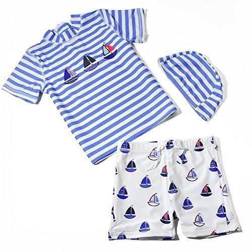 水着 子供 男の子 2-9歳 幼児 海軍風 上下 3点セット キャップ付 速乾 UPF50+ (M 95-105CM),赤ちゃん,水着,