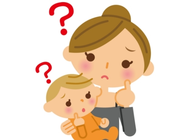 困っている赤ちゃんとお母さん,