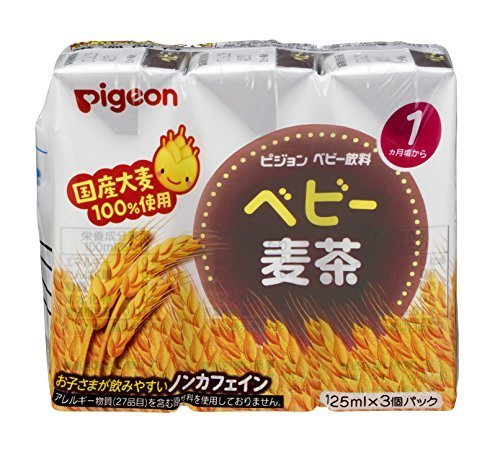 ピジョン ベビー麦茶 国産茶葉使用 125ml×3個パック×4個,赤ちゃん,ストロー,