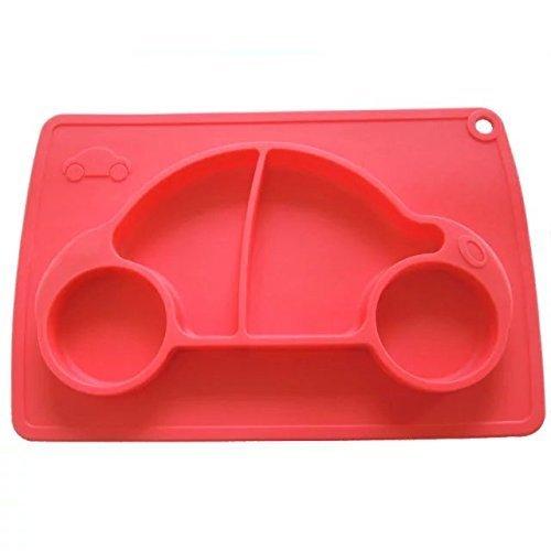 Kuke レッド 防水シリコン 吸盤付き 強い吸着力 かわいいカー形プレート 遊び食べ 離乳食 ベビー食器 ランチ皿 お食事マット 赤ちゃんミニマット 子供食器ベビー用品,離乳食食器,