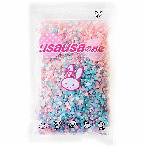 usausaのお店 カラフルパールイミテーション フラットバック 3000個セット(4mm) デコパーツ ピンク・ブルー・パープル・ホワイト(B230),スマホケース,手作り,