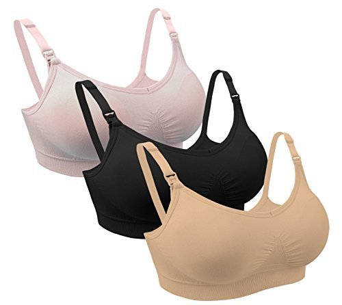 iLoveSIA (アイラブシア) マタニティ ブラジャー 2Wayオープン 授乳 ノンワイヤー 3枚セット 黒+ピンク+ベージュ L,妊娠,胸の張り,