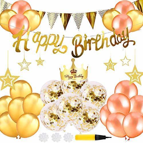 誕生日 飾り付け セット バルーン 風船 ゴールド HAPPY BIRTHDAY 装飾 バースデー ガーランド バースデー パーティー 男女の子,1歳誕生日,