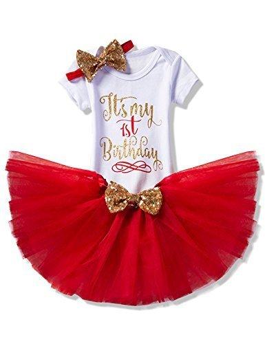 NNJXD 女の子・新生児・「It's My 1st Birthday」(これは私の1歳の誕生日) 3 枚/4 枚・服装・ロンパース+スカート+ヘッドバンド(+レギンス)サイズ(1) 1歳 レッド,1歳誕生日,