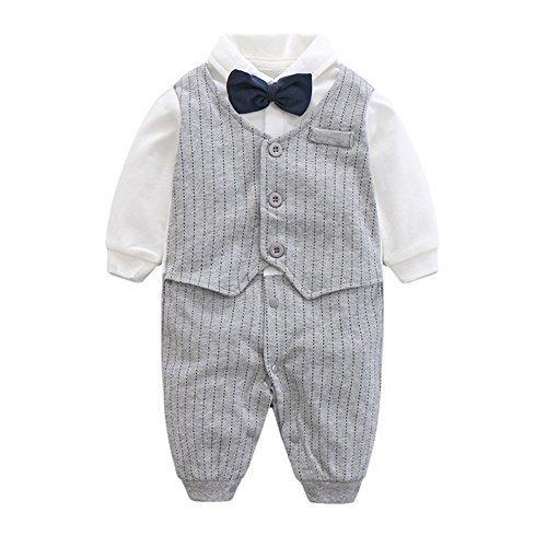 エルフ ベビー(Fairy Baby)ベビーフォーマル ロンパース 結婚式服 男の子 90cm グレーストライプ,1歳誕生日,