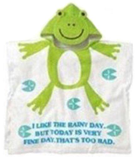 子供用 アニマルフード付き バスタオル 全2デザイン(うさぎ、かえる) (かえる),赤ちゃん,バスタオル,