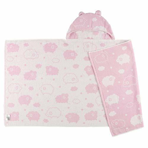 西松屋 フード付き湯上りポンチョ(ヒツジ) ピンク,赤ちゃん,バスタオル,