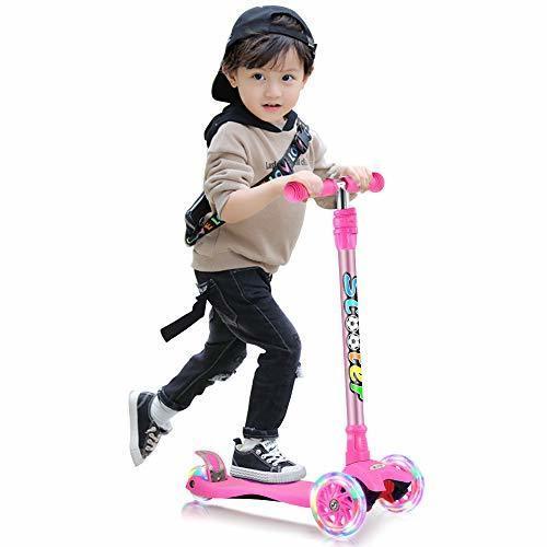 GOOGO キッズ スクーター 3輪 キックスクーター 子供用 キックボード 4段階調節可能 LED 光るホイール ブレーキ付き 対象年齢3歳以上 ギフトに最適(ピンク),キックボード,子供,