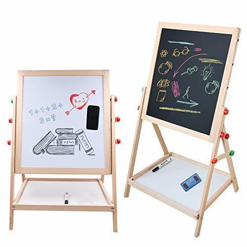 Tresbro ホワイトボード 子供身長より高さ調節できるの木製イーゼル おもちゃ 子供用 黒板ボード 数学 スケッチなどに活躍してる 両面木製 落書き知育学習玩具,幼児,お絵かき,グッズ