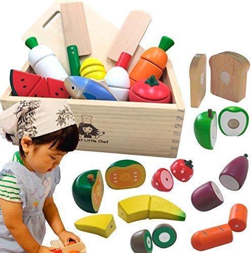 木製 ままごと サクッと切れるままごと ハイブリッドセットEX 木箱入り 木のままごと マグネット パーツ 増量,ごっこ遊び,おもちゃ,