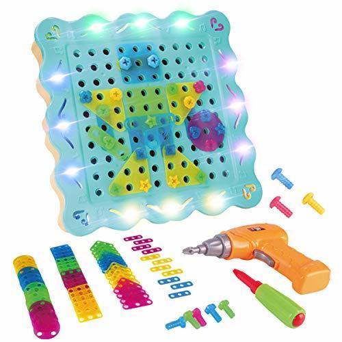 LITTLE COW おもちゃ 子供用 電動ドリル ネジ 積み木 ツールボックス カラフル 組み立て セット 知育玩具 誕生日 プレゼント (200PCS),4歳,男の子,プレゼント