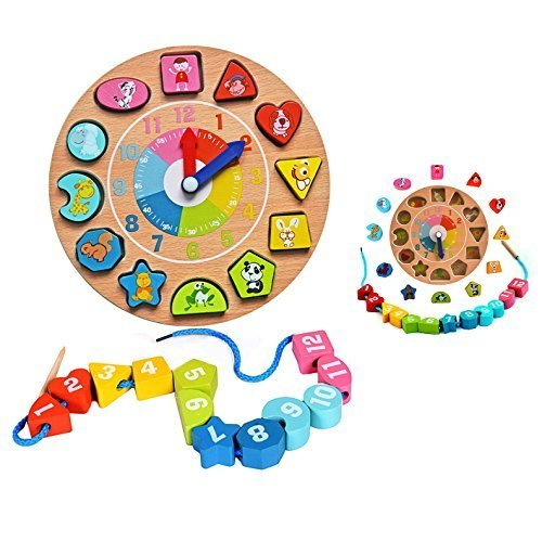 Itian 木のおもちゃ 時計積木 時計遊び クロック 積み木 形合わせ はめ込み ブロック パズル 幾何認識 数字認識 図形勉強 知育玩具,知育玩具,4歳,