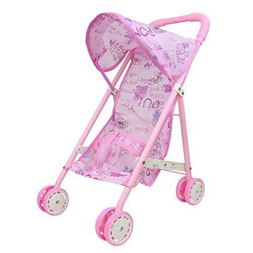 ZITA ELEMENT 人形用 ベビーカー イ オーニング付 バギー 折りたたみ式 軽量 ピンク ,4歳,誕生日プレゼント,