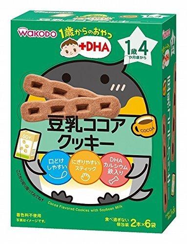 和光堂 1歳からのおやつ+DHA 豆乳ココアクッキー×6個,離乳食,豆乳,
