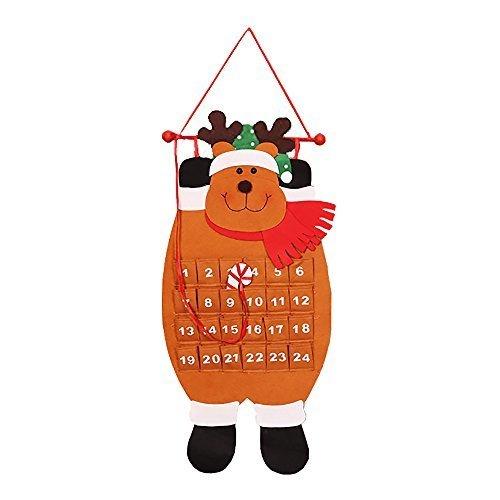 ポケット付き クリスマス アドベント カレンダーファブリックキッズ壁掛けカウントダウンデコレーション エルク,クリスマス,アドベントカレンダー,