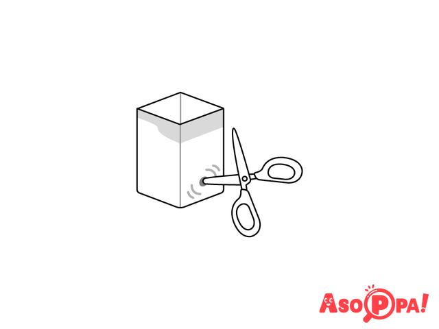 作り方(3)穴をひろげる,牛乳パック,工作,簡単