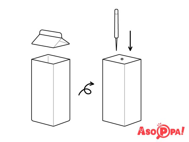 作り方(1)上部を切り取り、穴をあける,牛乳パック,工作,簡単